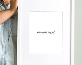 Bless The Lord Hand lettered Art Print, Brush lettering, Christian Art Print