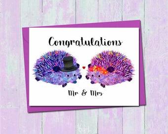 Hedgehog wedding card, Wedding day card, Mr and Mrs wedding card, Bride and Groom wedding card, Cute wedding card, Hedgehog engagement card