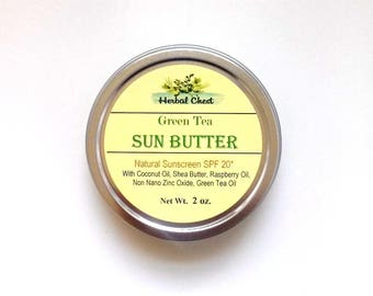 Sun Protection - Sunscreen - Natural Sunscreen - Sunblock - Green Tea - All Natural Sunscreen - Red Raspberry Seed Oil - Sun Butter
