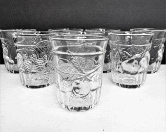 Vintage Juice Glasses, with Embossed Fruits, Blackberry, Cherry, Pear, Orange, set of 8