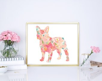 Frenchie watercolor dog print, French Bulldog Watercolor, 8x10 print, 16x20, French bulldog floral dog print, Nursery decor, pet wall decor