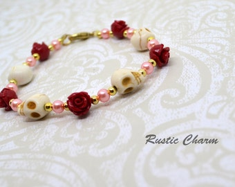 Howelite Skull and Red Rose Bracelet with Gold Beads and Pink Glass Pearls