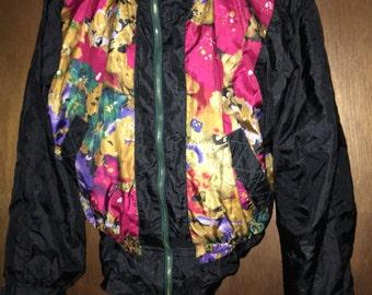River Edge Vintage Floral Vibrant Gold Flower Colored Black Windbreaker Coat Jacket