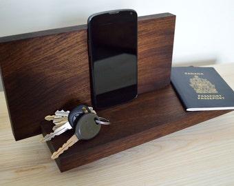 Charging Station Organizer, iPhone, iPad Docking Station, Black Walnut Valet