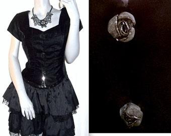 Chelsea Nites Shot Sleeve Floral/Rose Buttons Velvet Evening Top L