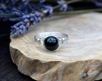 Black Onyx Ring 925 - Wire Wrapped Ring - Black Ring - Black Gemstone - Self Control, Intuition, Decisions, Protection  - Leo