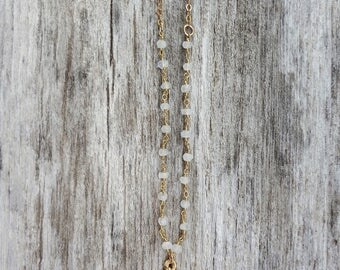 Faith | Moonstone Gold Cross Necklace, Piece of Eight Necklace