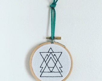 """Usurpation Anxiety Syndrome — Completed Artwork in 3"""" Embroidery Hoop"""