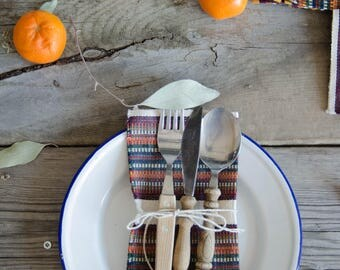 Set of 6 woven napkins, Guatemala.