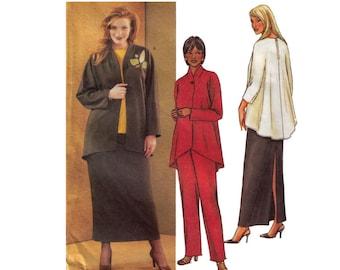 Uncut Butterick 3979 Sewing Pattern, Size 28W-32W Women's Loose Fititng Jacket Unlined, Women's Skirt, Blazer Pattern