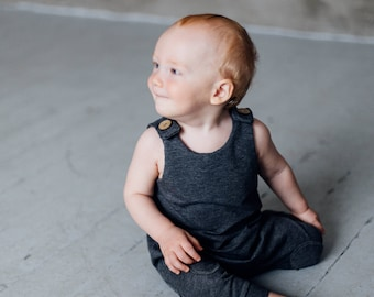 Baby romper Baby boy romper Baby girl romper Toddler romper Kids romper Kids gray romper Romper with knee patches