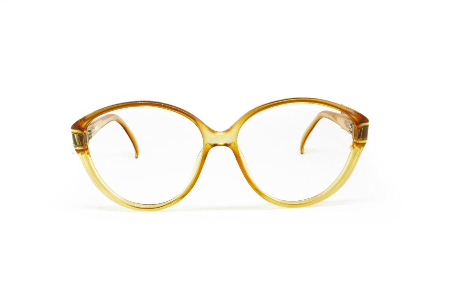 91606fbd890 Vintage 80s Terry Brogan medium oversize acetate frame yellow tones  semitransparent    oval Optyl glasses