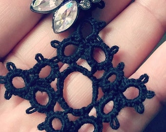 Black Rose Jewel & Lace Earrings