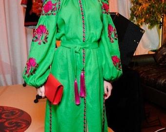 Ukraine Embroidered Linen Dress Vyshyvanka Long Ukrainian Vyshyvanka Dress Kaftan. Free shipping