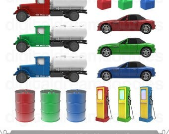 Gas Clipart, Petrol Clip Art, Gas Station Image, Oil Container Graphic, Big Tanker PNG, Gasoline Can Scrapbook, Motor Fuel Digital Download