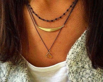 Black Rosary Necklace, Rosary Neckalce, Bar Necklace, Crown Pendant, Women's Jewelry by Christina Christi Jewels.