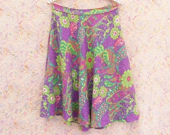 1960's skirt 60's Vintage psychedelic paisley print flower power high waist hippie skirt woven banded party skirt medium large size