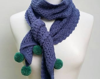 Merino crochet scarf with pom poms / winter accessory / blue pom pom scarf / gift for her / women's accessory