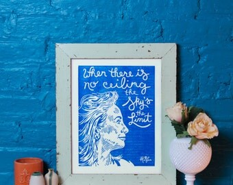 Hillary Clinton Poster, Presidential Election, Handmade Linocut Print, Blue, Inspirational Quote, Art, Wall Hanging