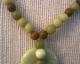 Sale - Light Green Serpentine and Brown Jasper Stone Bead Necklace, Healing Jewelry, Chakra Jewelry, Necklace Earring Set,Stone Bead Jewelry