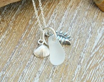Sea Glass Wedding Necklace, Sea Glass Jewellery, Beach Wedding Necklace, Bridemaids Jewelry, Sea Glass Necklace, Wedding Gift For Bride
