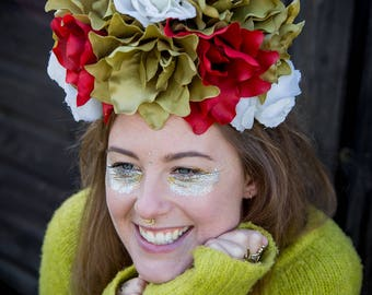 Autumnal flower crown, floral headpiece, showstopper