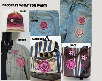 Gift for girlfriend Set of patches Cute patch Pink patches Do it yourself Lace applique jeans Applique for hat Purple applique Purple patch