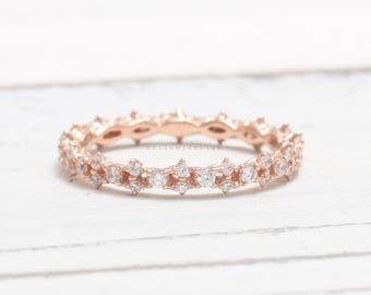 Dainty Natural Diamonds Full Eternity Band Solid Gold Wedding Band Ring