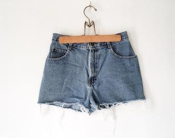 Vintage 90s Denim Cut Offs - High-waisted cut-off Jean Shorts 6