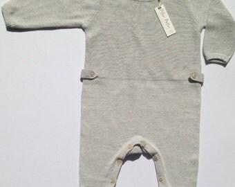 Cashmere/Cotton stitch detail babies knit Romper