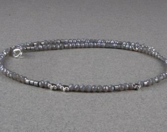 Gray necklace, grey glass beads, Bridal jewelry, wedding, Star, stars, gray, boho, bohemian, necklace, beads, necklaces, jewelry, necklace