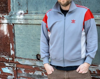 80's Adidas Red and Grey Track Warm up Zip up Jacket