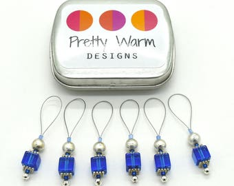 Blue Beaded Stitch Markers - Stitchmarkers - Progress Keepers - Knit Markers - Snag Free Stitch Markers - Gifts for Knitters - Knitting Tool