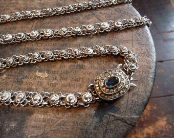 stunning antique art nouveau french solid silver filigree necklace / antique / vintage / ancien argent massif 28.6 gr