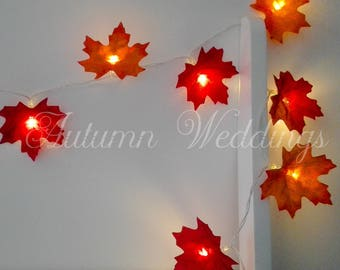 Autumn Leaves Fairy Lights / String Lights - Wedding Decorations - LED Garland - Battery Operated - Bedroom
