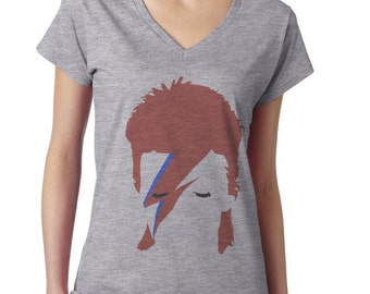 David Bowie shirt, Ziggy Stardust women v neck t shirt WXV-10252