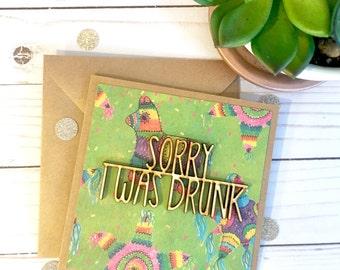 Sorry I was Drunk Card | I'm Sorry Card | Funny Sorry Card | Sorry Cards for Friends | Sorry Cards | Apology Card | Forgive Me Card