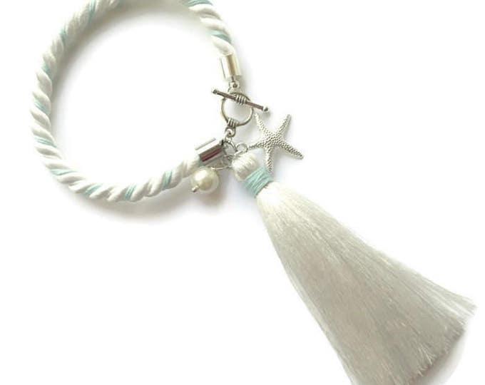 Beach bridal bracelets, Starfish bracelet,Bridesmaid jewelry, Beach Wedding bracelet, Nautical bracelet,Tassel Bracelet