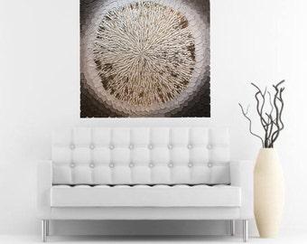 Flower art deep texture impasto light brownrust gold original painting 36x36 FREE SHIPPING