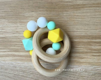 Double Rattle / Teether in wood and silicone