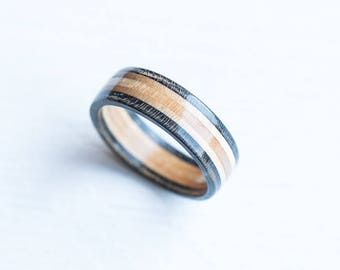 Skateboard Ring - Gray Wooden Ring - Wooden bands - Wood Ring  - Gray - Black - Boyfriend Gift- Skate Ring -Wedding Ring - Anniversary