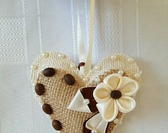 Heart Ornament Shabby Chic Wediing Decor Valentine's Gift Coffee Burlap Heart