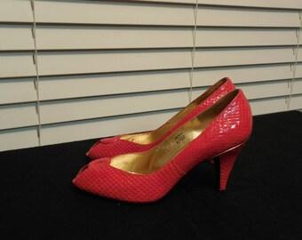 Vintage Red 'Snake Skin' Pumps - Open-toe, Stilettos - J. Renee - Size 6.5M