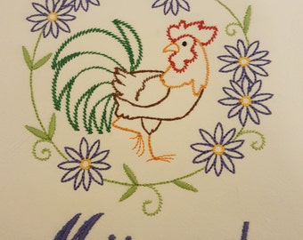 Chicken Rooster flour sack embroidered dish towel