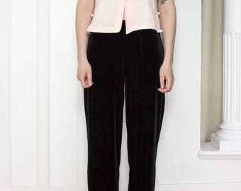 90s Black Velvet Pants / Elastic Waist / Size Medium