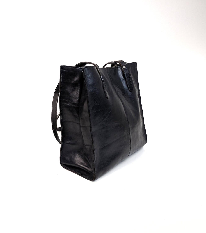 90s minimal black leather tote bag aldo made in canada