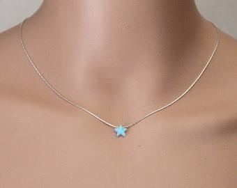 Opal Star Necklace, Opal Necklace, Opal Silver Necklace, Opal Jewelry, Blue Opal Necklace, Blue Star Opal Necklace, Simple Necklace