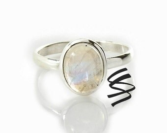 Moonstone Silver Ring Sterling Silver Moonstone Ring Moonstone Jewelry Genuine Moonstone Rainbow Moonstone White Gemstone Natural White Gem