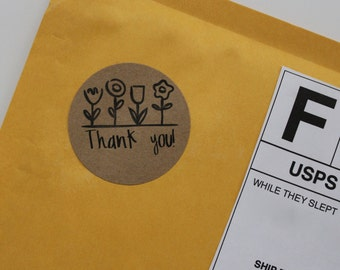 Round Thank You Sticker - Round Thank You Labels, Thank You Seals Favor Tags, Envelope Seal Stickers, Party Favor Tags, Round Sticker Labels