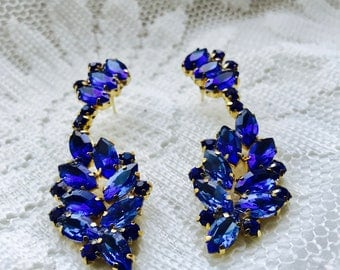 Blue Chandelier Rhinestone Earrings